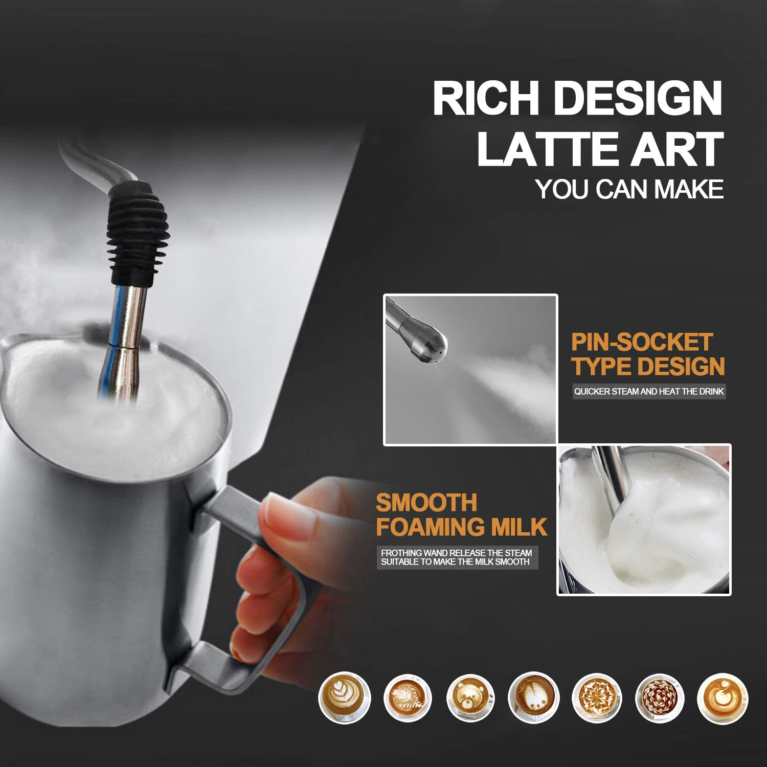 Espresso Machine Barsetto Coffee Machine 15 Bar Stainless Steel Coffee Brewer with Milk Frother Wand, Package w/Free Milk Frothing Pitcher, for Cappuccino, Latte and Mocha (Stainless Steel) (Silver) by Barsetto (Image #4)