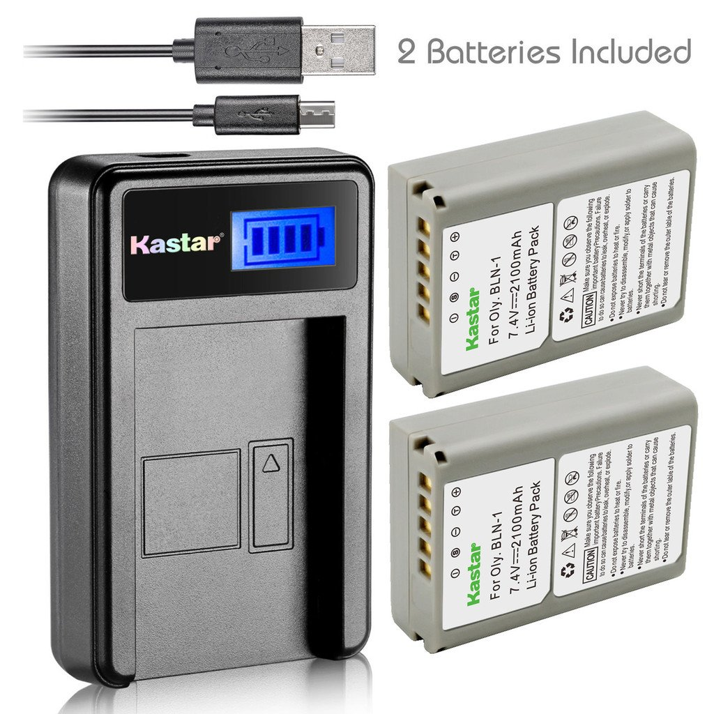 Kastar Battery (X2) & LCD Slim USB Charger for Olympus BLN-1, BCN-1, BLN1 and Olympus OM-D E-M1, OM-D E-M5, PEN E-P5 Digital Camera