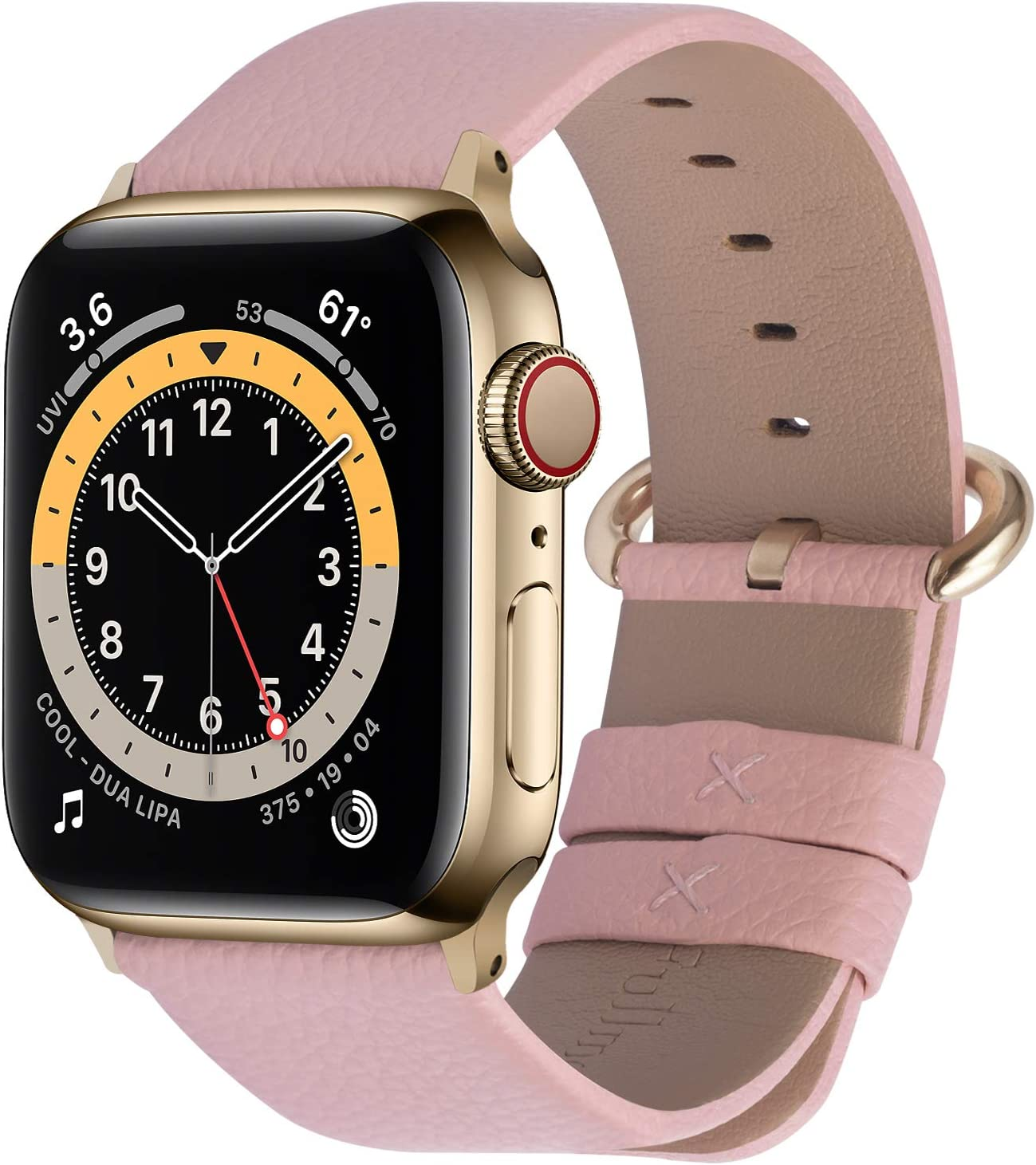 Fullmosa Compatible Apple Watch Band 38mm 40mm 42mm 44mm Leather Compatible iWatch Band/Strap Compatible Apple Watch SE & Series 6 5 4 3 2 1, 38mm 40mm Soft Pink + Golden Buckle