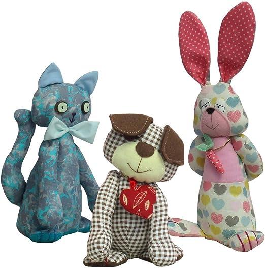 Perro de peluche, gato y patrones de costura para hacer un conejo ...