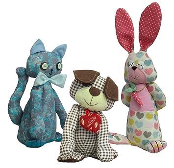 Weiches Spielzeug Hund, Katze und Hase Schnittmuster. Drei Muster ...