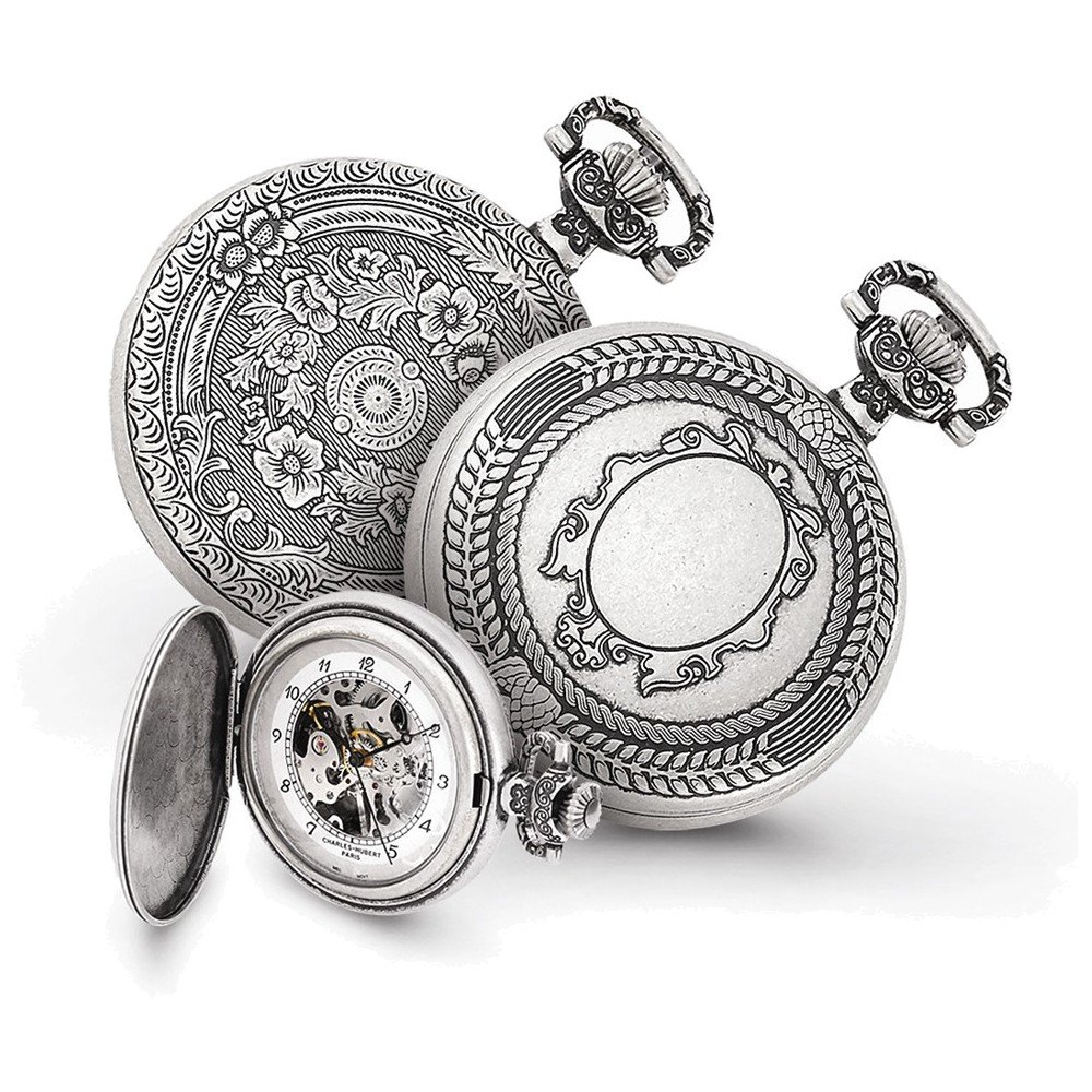 Charles Hubert Antiqued Oval Design Pocket Watch