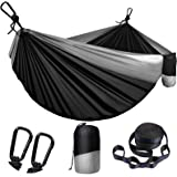Camping Hammock for Outdoors Travel Backpacking,Camping Gear-Double Hammock with Tree Straps(18+1 Loops) & Carabiners, Nylon