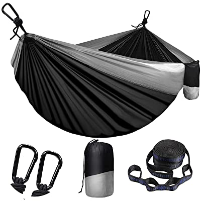Camping Hammock Camping,Single /& Double Portable Ultralight Nylon Parachute Hammocks with 2 Hanging Straps /& 1Pink and 1Black Eye Mask for Backpacking Travel Beach Hiking.