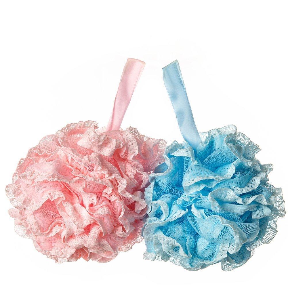 Da.Wa 2X Body Puff Thicker Lace Bath Ball Back and Body Scrubber Bath Wiping Children Bath Flower Loofah (Random color)