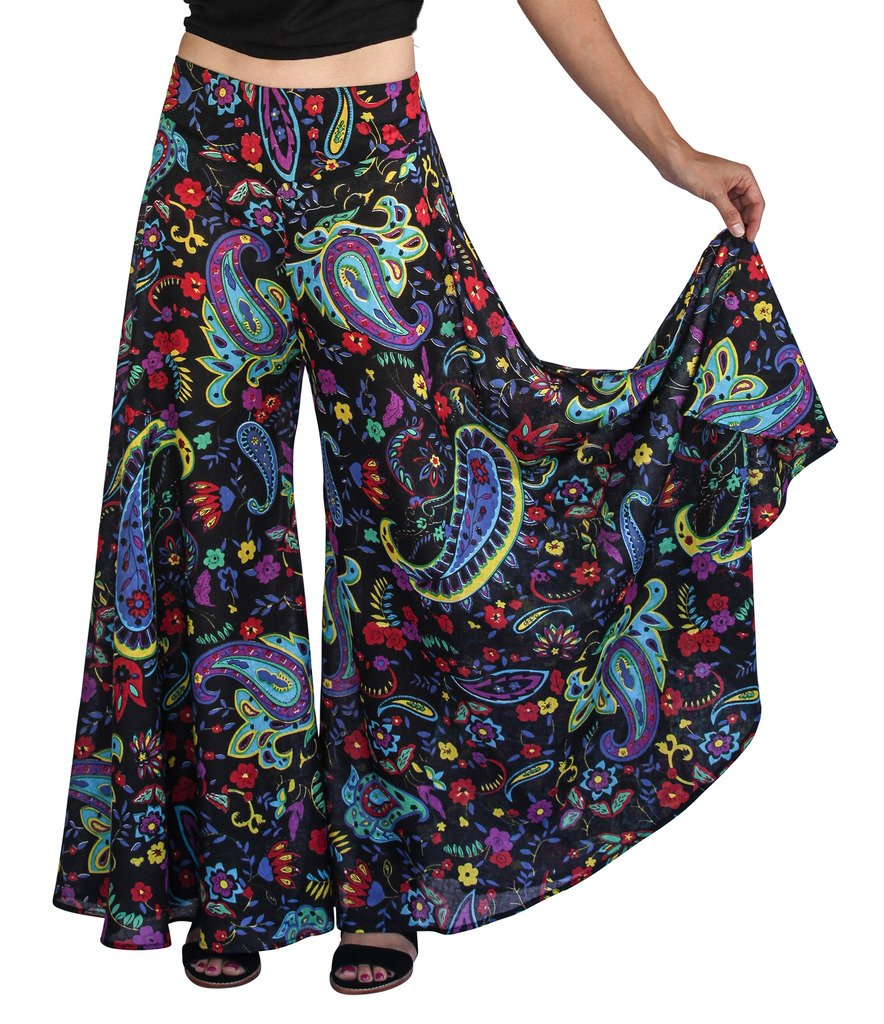 Tropic Bliss Women's Palazzo Pant, Boho Chic Bohemian Style, Black multicolored by, Large