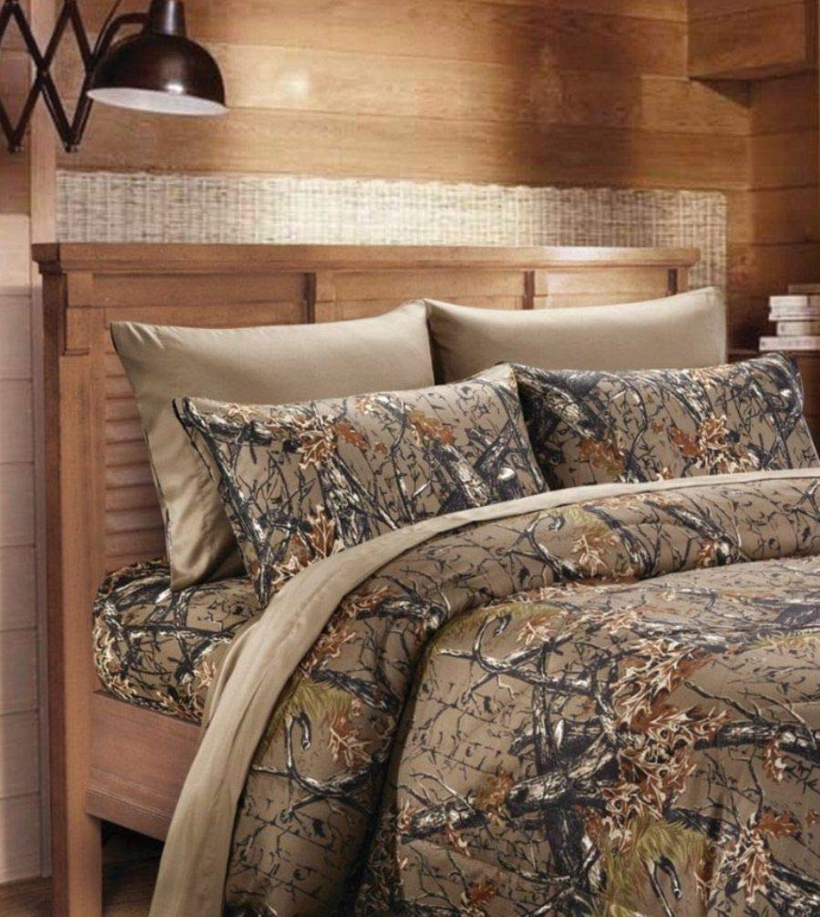 6 Piece King Sheet Set Reversible Woodland Camo / Solid Color Design