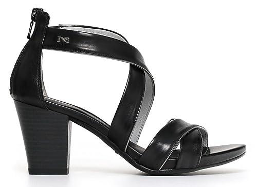 Sandali NeroGiardini P805650D 100 5650 scarpe donna in pelle nera