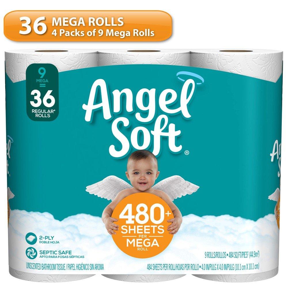 Angel Soft Toilet Paper, 36 Mega Rolls, 36 = 144 Regular Rolls, Bath Tissue, 4 Packs of 9 Rolls by Angel Soft