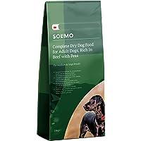 Marca Amazon - Solimo - Alimento seco completo para perro adulto rico en vacuno con guisantes, 1 Pack de 20 kg