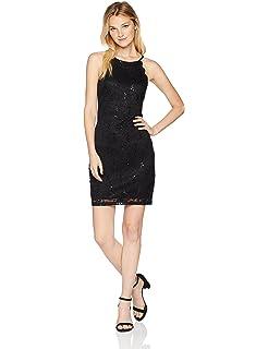7ea2e288c Amazon.com: My Michelle Junior's High Neck Short Dress with Back Cut ...