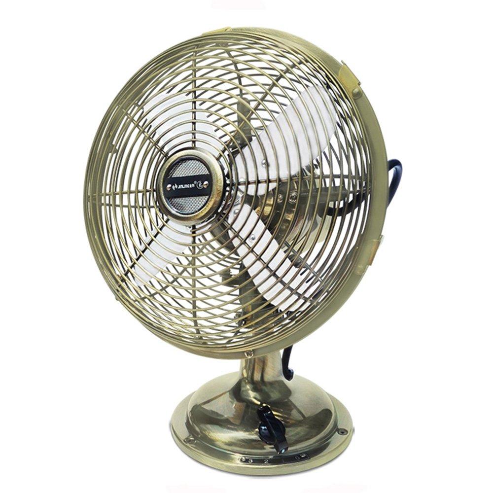 LBYMYB Desktop Metal Fan Vintage Metal Cooling Fan, Desktop Small Portable Home Office Cooling Fan (Copper) Mini Fan (Color : A)