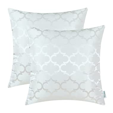 CaliTime Pack of 2 Cushion Covers Throw Pillow Cases Shells for Home Sofa Couch Modern Shining & Dull Contrast Quatrefoil Accent Geometric 18 X 18 Inches White
