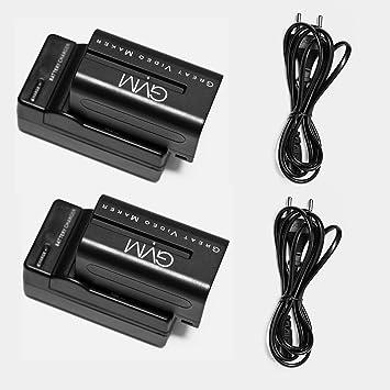 Batería de repuesto GVM Li-ion NPF 750 4400mAh Baterías de 2 piezas con 2 Cargadores aptos para Sony HandyCams, GVM Luz de video 480l, 520s, 520s 672s ...