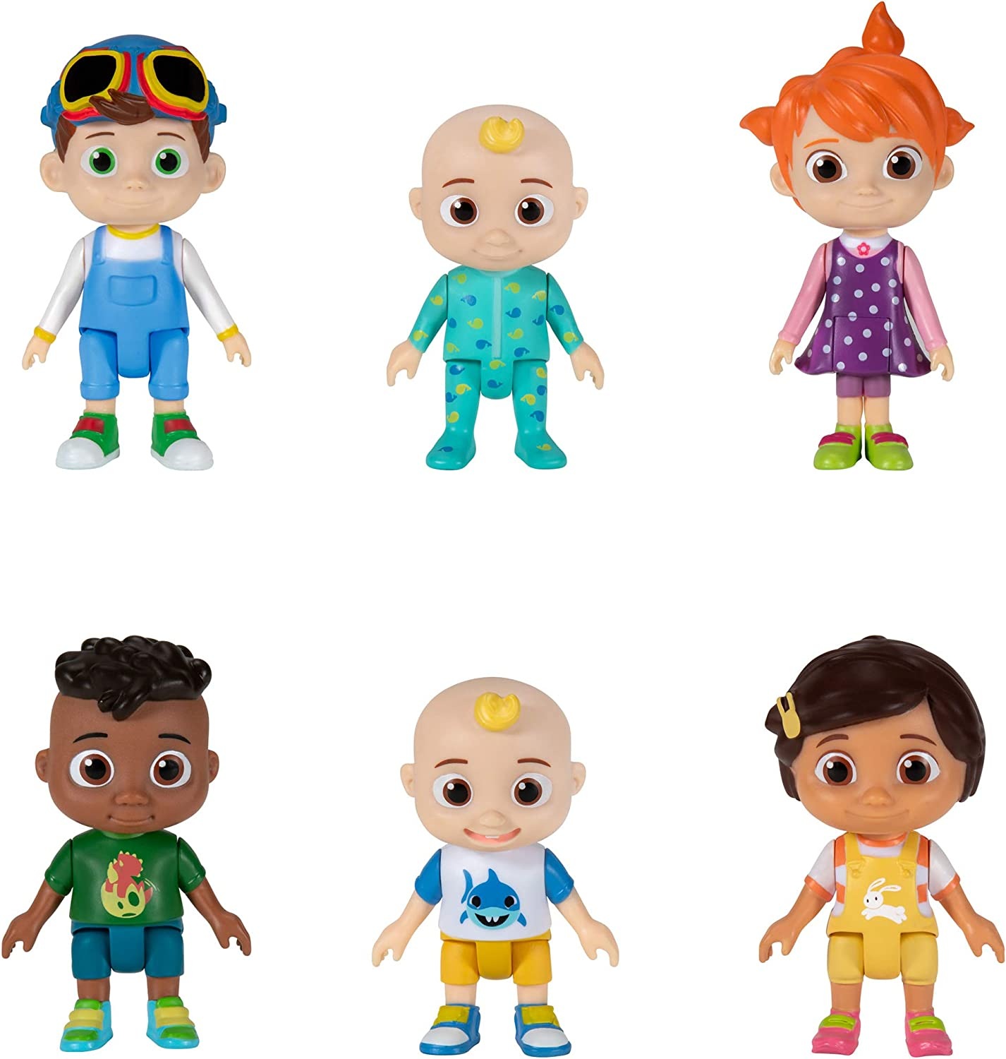 Amazon Com Cocomelon Friends Family 6 Figure Pack 3 Toys Featuring Jj Bella Nina Yoyo Tomtom And Cody Character Toys For Babies Toddlers And Kids Toys Games