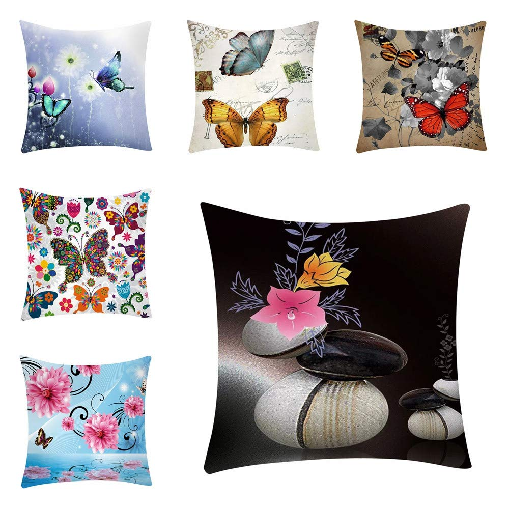 Throw Pillow Cover, Kimloog Butterfly Floral Print Zipper Sofa Cushion Case 18x18(A) by Kimloog-Pillow Case (Image #2)