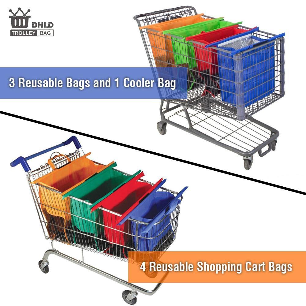 dhld 4 bolsas de compras de comestibles reutilizables - tamaño para estándar americano carritos de la compra.: Amazon.es: Hogar