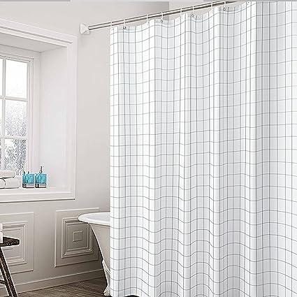 JIMS STORE Waterproof Shower Curtain Mildew Resistant BlackWhite Grid 71x71
