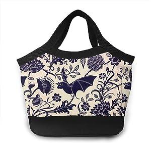 Halloween Bat Flower Lunch Box Storage Bag Organizer For Adults/Men/Women, Work School Picnic Beach Lunch Organizer, Premium Handbag To Keep Food Hot/Cold