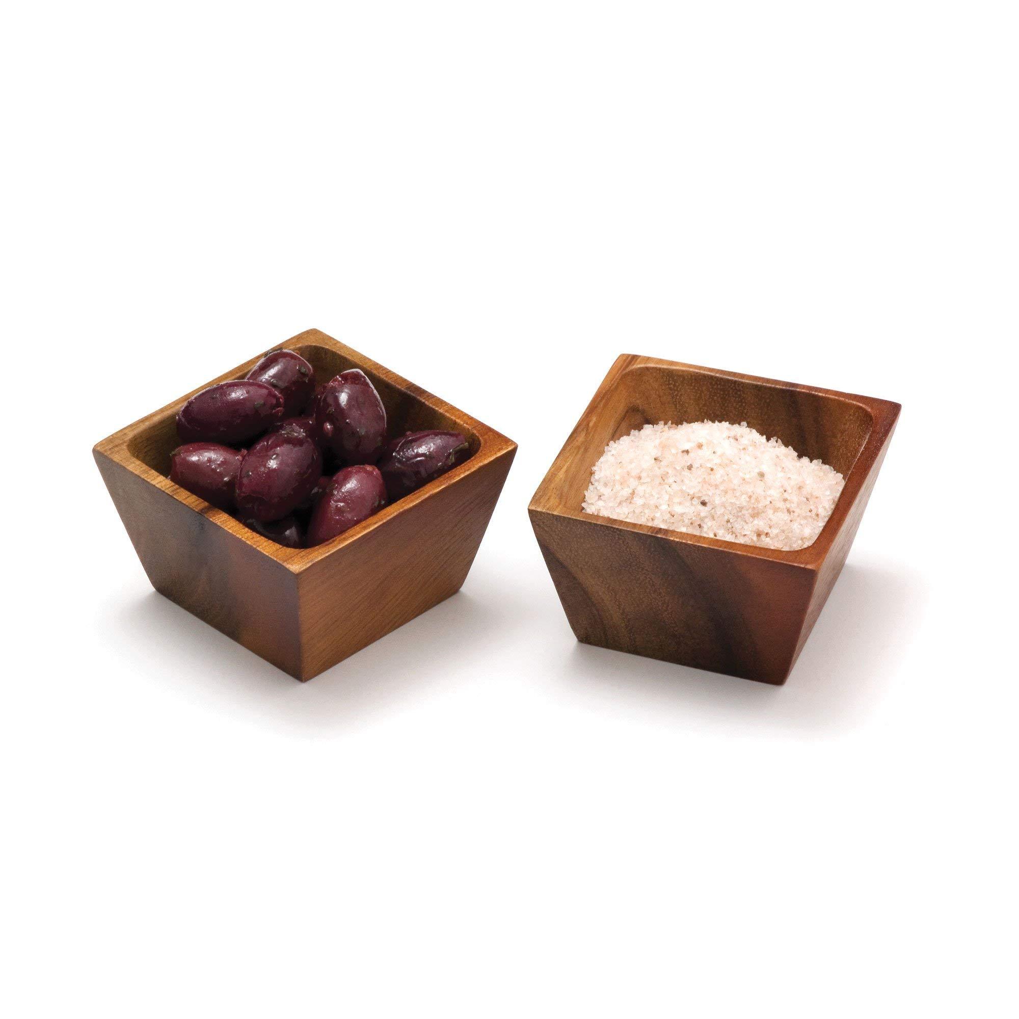 Lipper International 1100-2 Acacia Wood Square Salt Pinch or Serving Bowls, 3'' x 3'' x 2-1/2'', Set of 2 by Lipper International (Image #4)