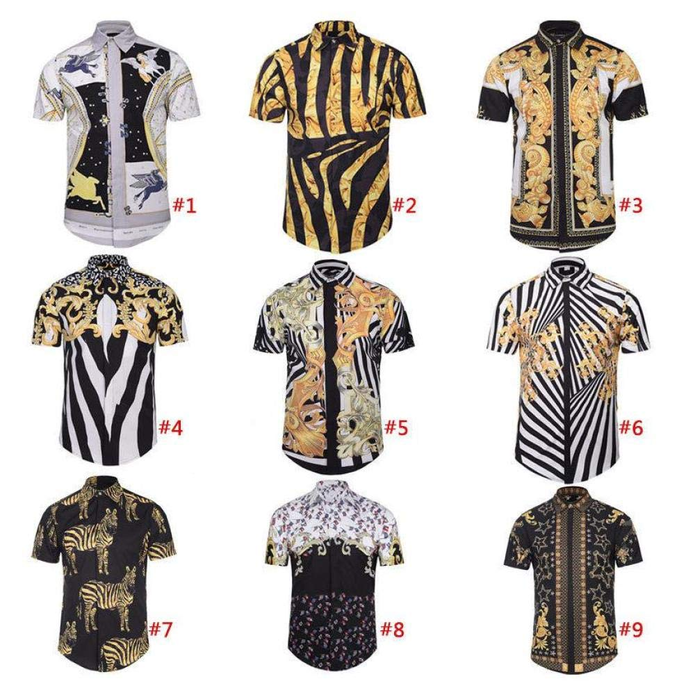 LanLan Men Short Sleeve 3D Printed Shirt Social Slim Fit Blouse Shirts #4 XL
