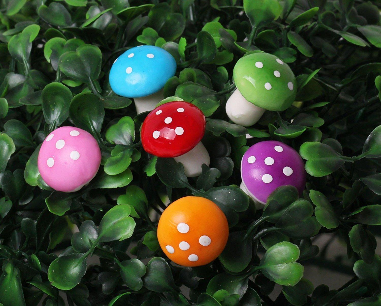Xiton 60 piezas miniatura Hada del jardín de hongos de colores