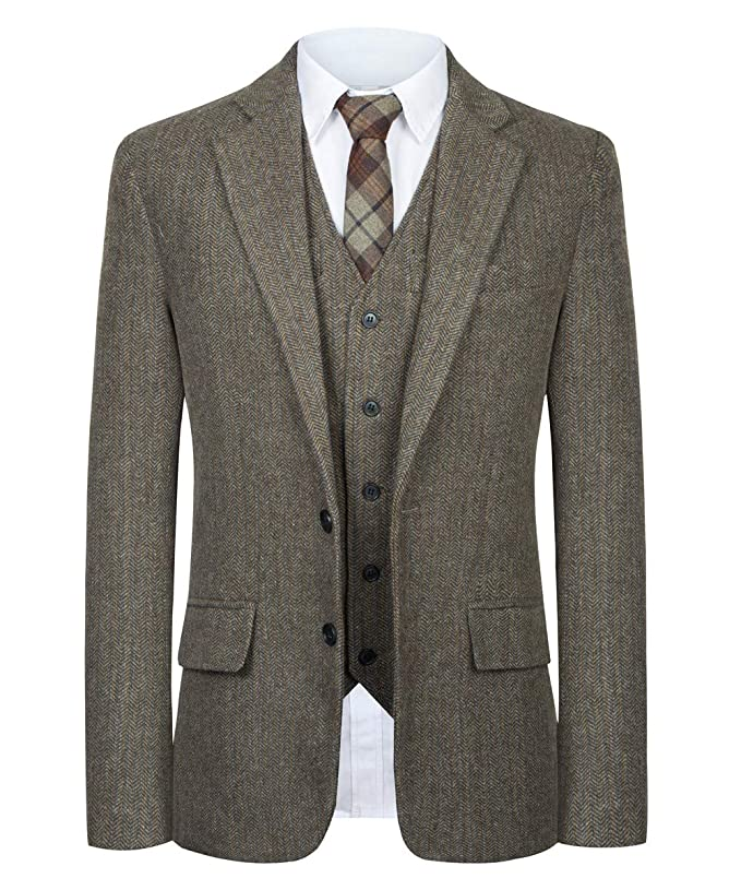 Retro Clothing for Men | Vintage Men's Fashion CMDC Men Suit Slim Fit Tweed Wool Blend Herringbone Vintage Tailored Modern Fit Suit $99.00 AT vintagedancer.com