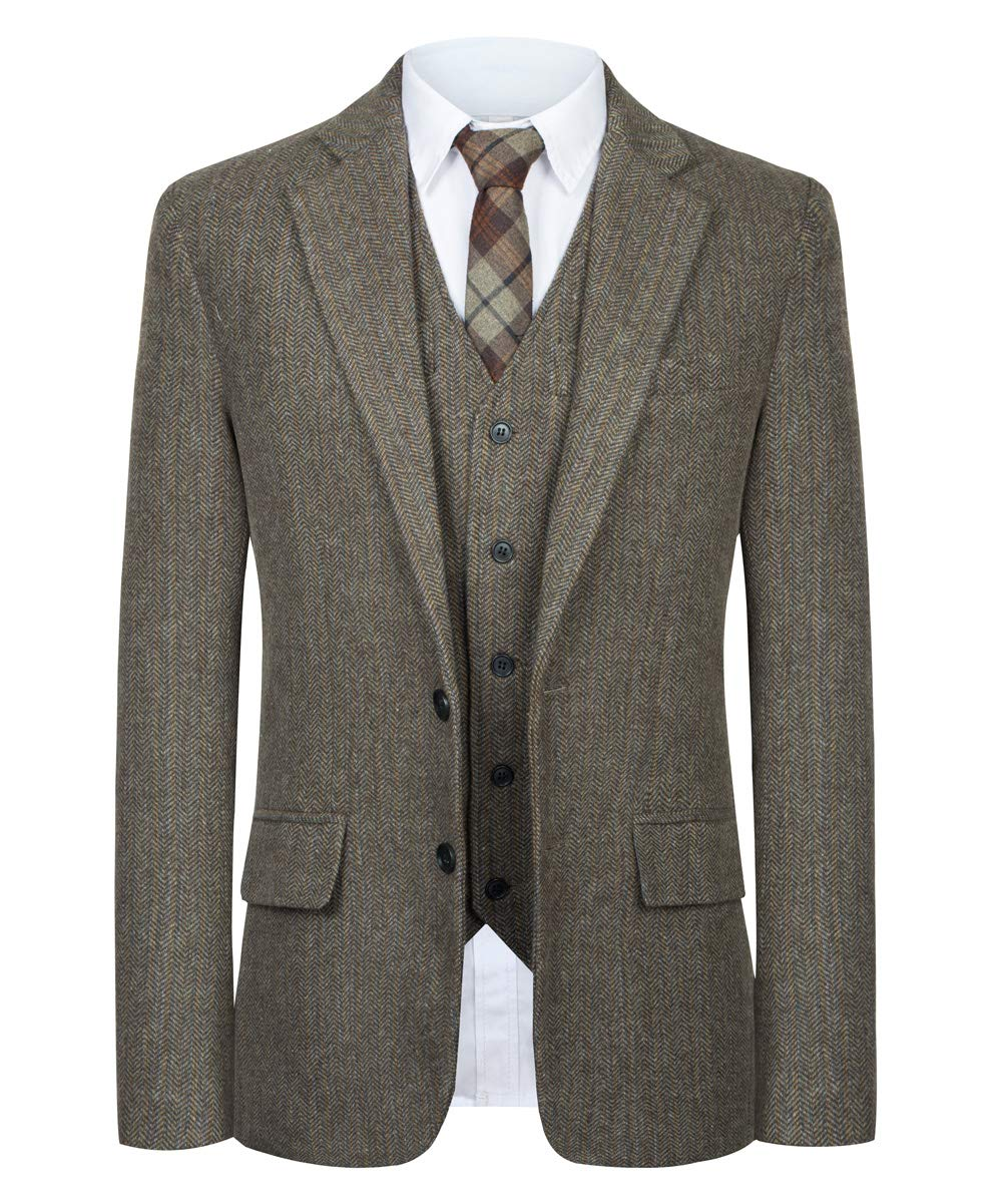CMDC Men Suit Slim Fit Tweed Wool Blend Herringbone Vintage Tailored Modern Fit Suit SI178-SPV-Brown-48R