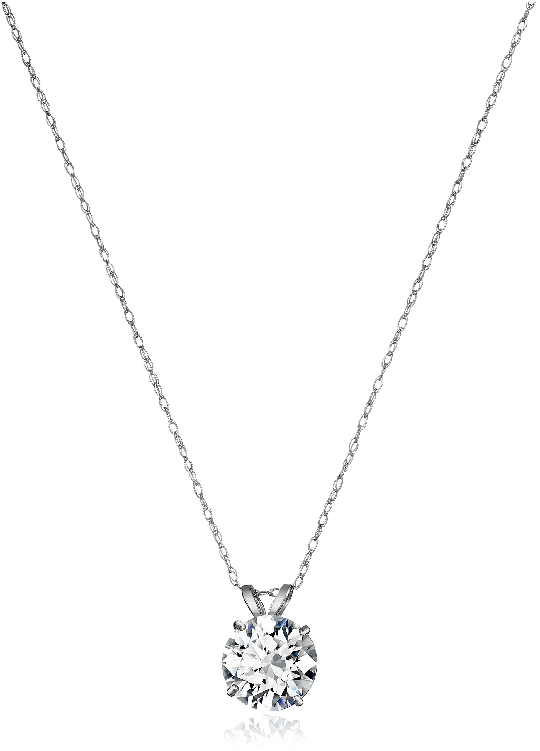 10K White Gold Solitaire Pendant Necklace set with Round Cut Swarovski Zirconia (2 cttw), 18''