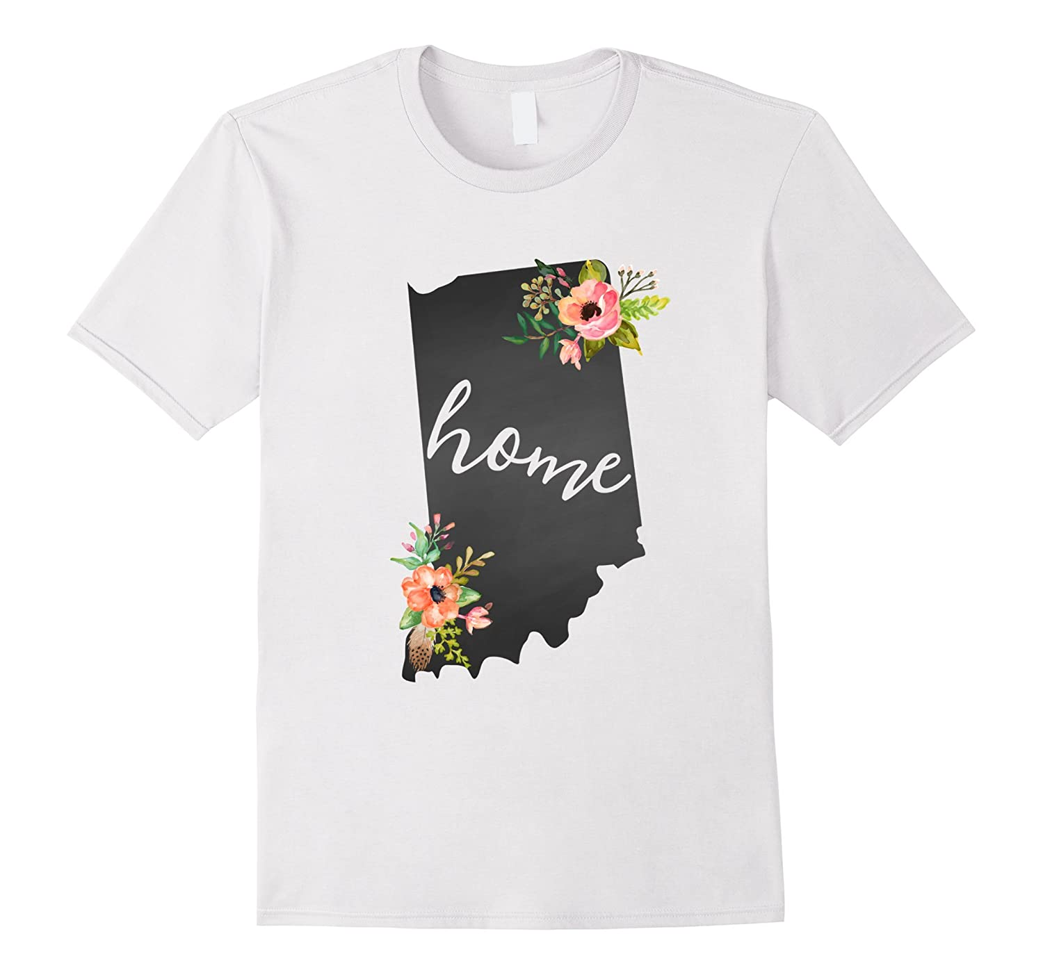 Indiana Home Chalkboard Watercolor Flowers State T-Shirt-RT