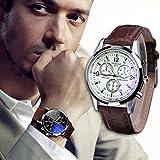 Meily Moda de lujo de imitación de cuero para hombre Blue Ray Vidrio Relojes analógicos de…
