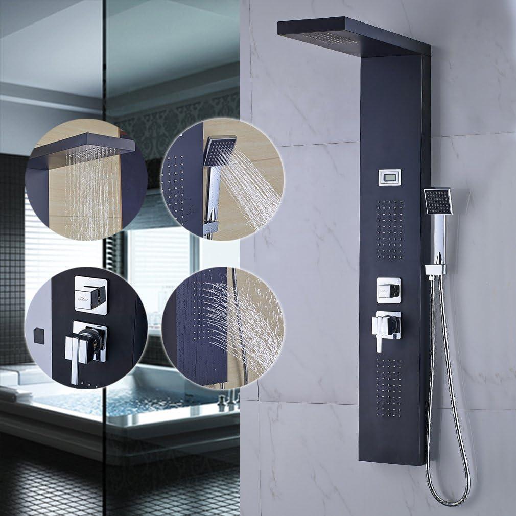 Auralum - Columna de ducha con Pantalla Digital LCD (Mostrar la ...