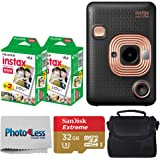 Fujifilm Instax Mini LiPlay Hybrid Instant Camera (Elegant Black) + Fujifilm Instax Instant Film (40 Shots) + 32GB…