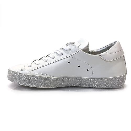6bac2aeca9e4 Damen Sneaker Low Paris Glitter L D Veau Blanc Argent - Hochwertige  Designer Sneaker Aus Leder