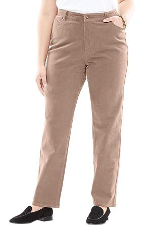502a839bf91 Woman Within Women's Plus Size Petite Corduroy Straight Leg Stretch Pant at  Amazon Women's Clothing store: