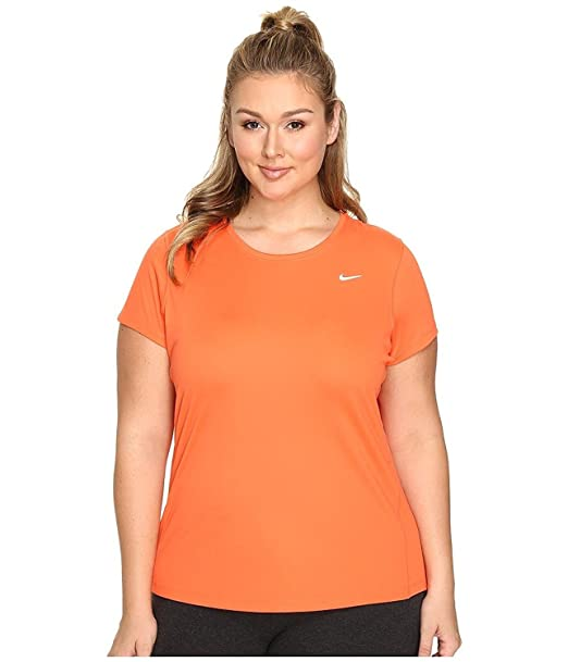 d5d3285a3 Nike Women's Miler Short-Sleeve Running Top, Plus Size, Turf Orange, ...