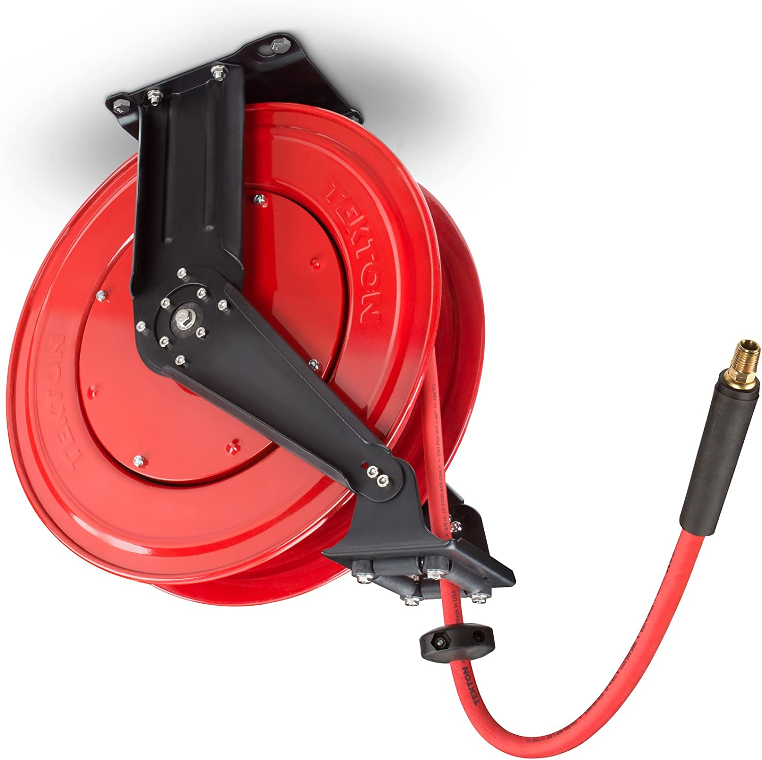 TEKTON 50-Foot by 3/8-Inch I.D. Dual Arm Auto Rewind Air Hose Reel with USA-Made Rubber Air Hose (250 PSI) | 46875 - -