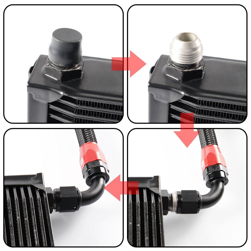 25 Row Aluminum Engine Transmission Oil Cooler Kit Upgrade For BMW 3 SERIES 335I E90 E92 N54 Black