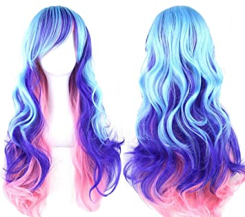 9f1283750d44 Topwigy Cosplay Wigs Rainbow Long Costume Curly Wave Ombre Colorful Hair  Wigs with Bangs Party Wig