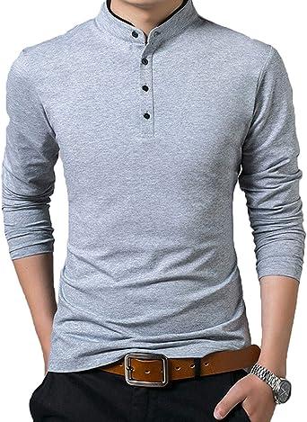 Camisas Polo De Los Hombres Camisa Polo Casual Modernas Elegantes De Los Hombres De La Camisa De Manga Larga Slim Fit Camisa De La Casa De Los Hombres De Ocio Primavera Otoño: