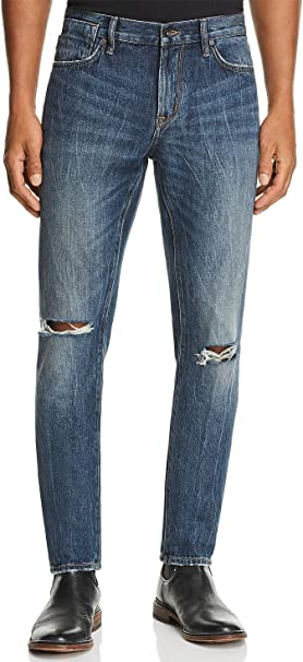 John Varvatos Mens Bowery Slim Straight Ripped Jeans BNLB Medium Blue