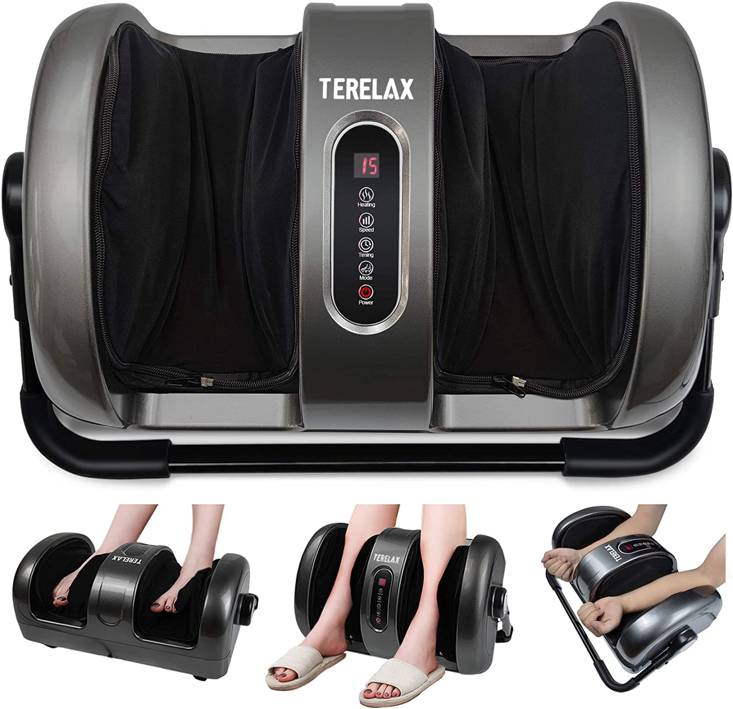 Foot Massager Machine Shiatsu Foot and Calf/Leg Massager with Heat Deep Kneading Therapy Relieve Foot Pain from Plantar Fasciitis Improve Blood Circulation by TERELAX