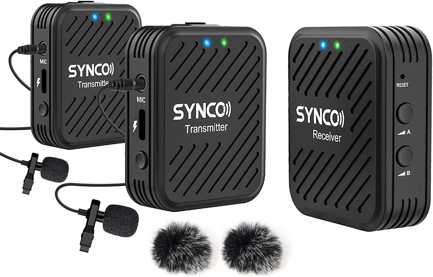 Laptops,DSLRs iPhone 200 ft Audio Range 2.4GHz Dual Wireless Lavalier Microphone System Compatible with PC Computers Movo WMX-1-DUO Computer USB Bundle Great for Teaching Tutorials Smartphones