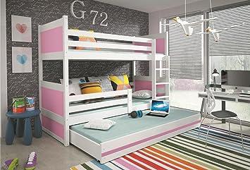 Interbeds Rico - Litera infantil con cama nido de madera blanca para niños + colchones, color gris 160x80, 190x80, 190x90, 200x90, Rosa, 200x90: Amazon.es: ...
