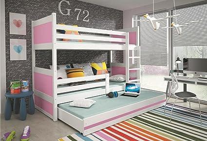 Interbeds Rico - Litera infantil con cama nido de madera blanca para niños + colchones,