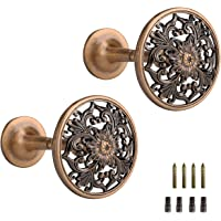Lewondr Curtain Holdbacks, Set of 2 Wall Mounted Draperies Hooks Antique Engraved Floral Plate Vintage Retro Decorative Metal Hangers for Home Living Room Bathroom Closet