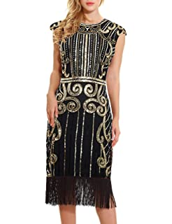 2bde1786ea6 1920s Vintage Inspired Flapper Dress - Sequin Embellished Fringe Cap Sleeve  Long Great Gatsby Dress