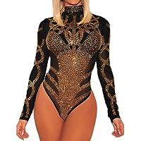 BarbedRose Women's Sexy Rhinestone Sheer Mesh Long Sleeves Bodysuit S-3XL
