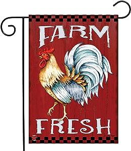 """Briarwood Lane Farm Fresh Rooster Summer Garden Flag Barn Wood 12.5"""" x 18"""""""