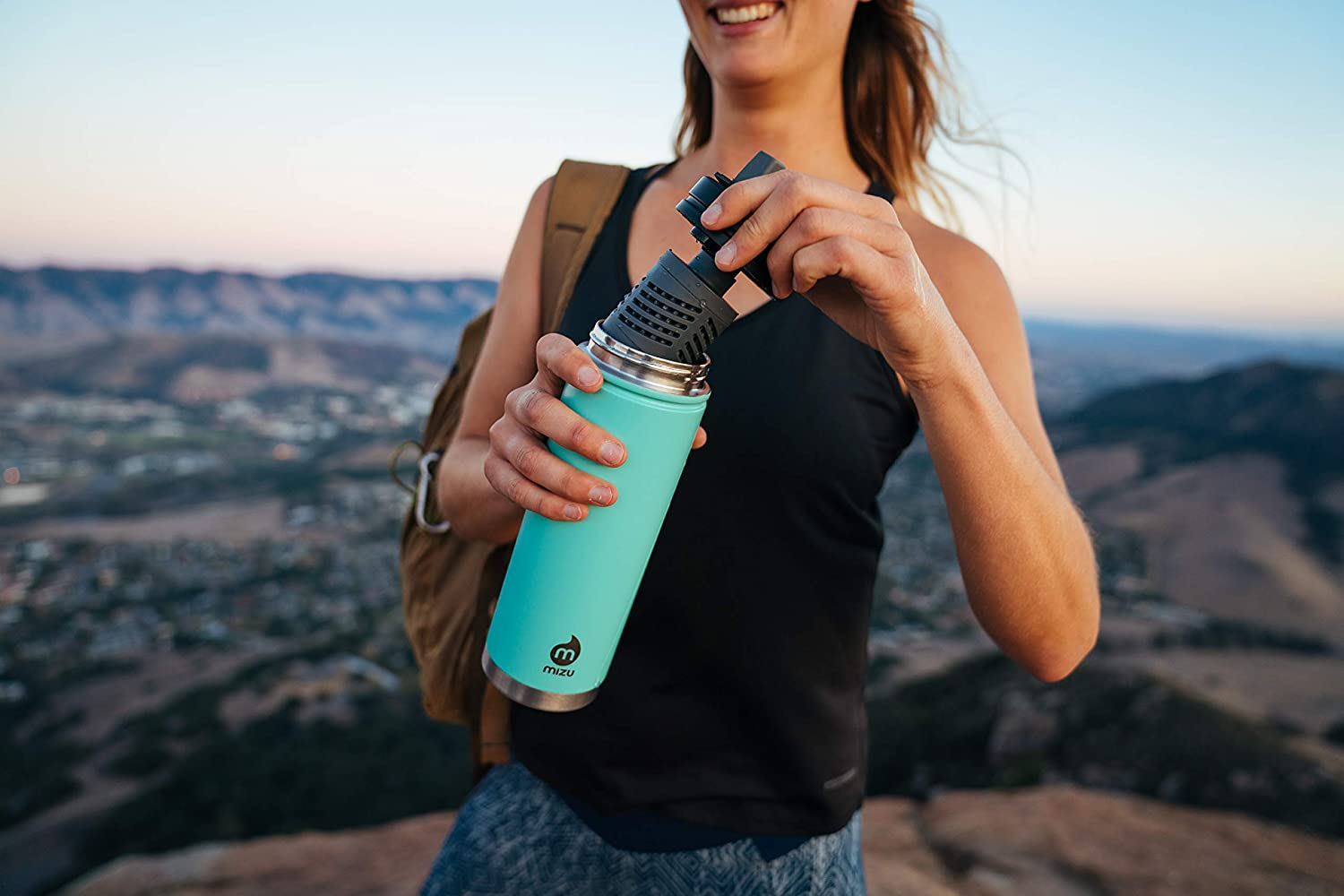 BPA Free 21 oz Water Purifier Wide Mouth with Leak Proof Straw Lid Double Wall Stainless Steel Vacuum Insulated 360 V7 Adventure Kit Water Bottle Mizu Multiple Colors